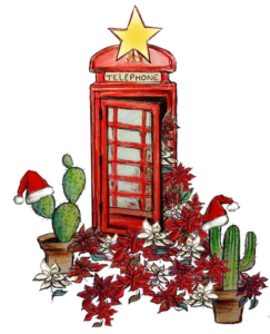 Post box surrounded by Poinsettia and Cacti